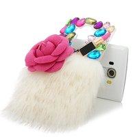 3D Luxury Fur Pink Flower Lipstick Colorful Sparkle Rhinestone Shiny Bling Diamond Gems Case For LG