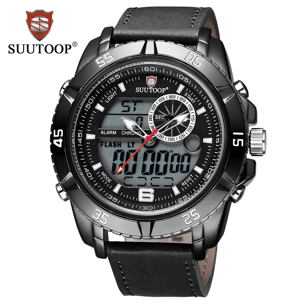 SUUTOOP Watches Men Luxury Brand Fashion Business Casual Quartz Wrist watches Leather Waterproof Sport Digital Watch Man Clock xinge top brand luxury leather strap military watches male sport clock business 2017 quartz men fashion wrist watches xg1080
