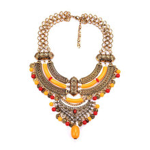 New Fashion Exaggerated Necklace Ladies Personality Color Clavicle Chain Rhinestone Vintage Boutique