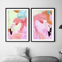 5D DIY Full Round Diamond Painting Cartoon Pink Flamingo Diamond Embroidery Bedroom Wall Home Decor Needlework