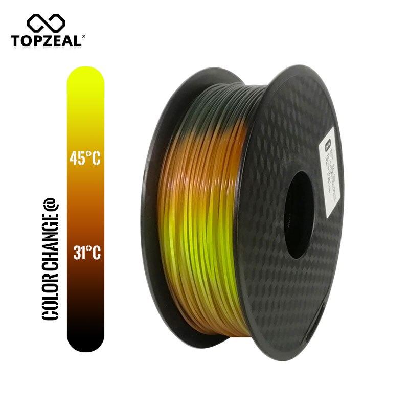 TOPZEAL Recém PLA Filamento Impressora De Temperatura Mudam de Cor Tri Lava 3D, Preto e Vermelho para Amarelo, 1KG 1.75mm com Tolerância de +/-0.05mm