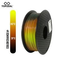 TOPZEAL 새로 pla tri temp 변경 색상 용암 3d 프린터 필라멘트, 검정색에서 빨간색으로 노란색, 1 kg 1.75mm 공차 +/ 0.05mm