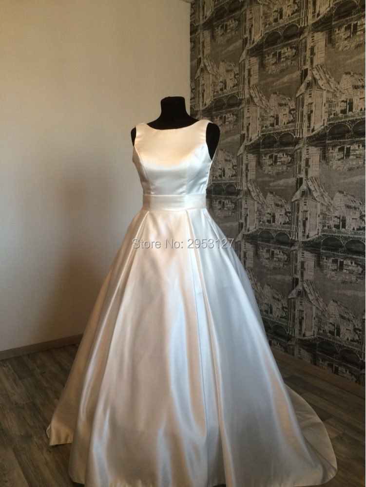 A Line Scoop Bridal Dresses Wedding Dresses Pockets Bridal