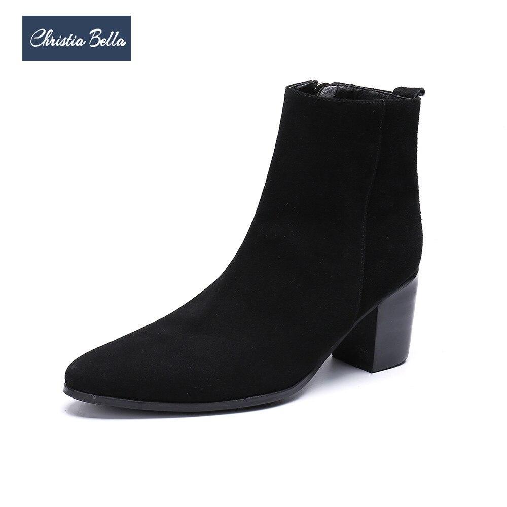 Christia Bella зима Для мужчин платье сапоги замшевые черные сапоги на высоком каблуке Острый носок ботильоны большой Размеры официальная Вечери