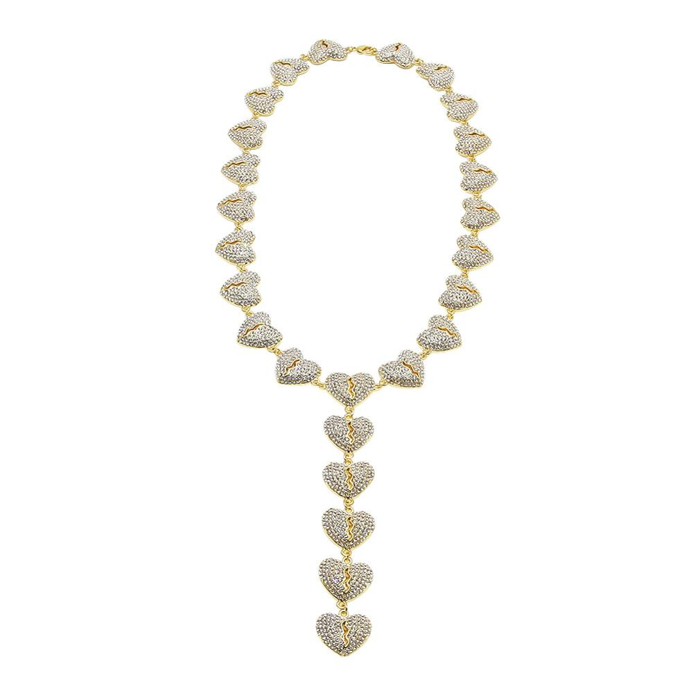 Full Rhinestone Paved Broken Hearts splice Link Chain Necklace Men Hip Hop Bling Iced Out Chokers Necklaces Male Rapper JewelryFull Rhinestone Paved Broken Hearts splice Link Chain Necklace Men Hip Hop Bling Iced Out Chokers Necklaces Male Rapper Jewelry