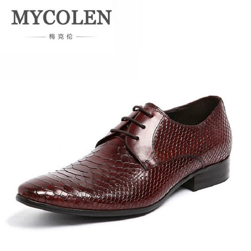 MYCOLEN Mens Dress Shoes Genuine Leather Black Red Formal Business Male Shoes Sapato Social Pointed Toe Cowhide Leather Shoes