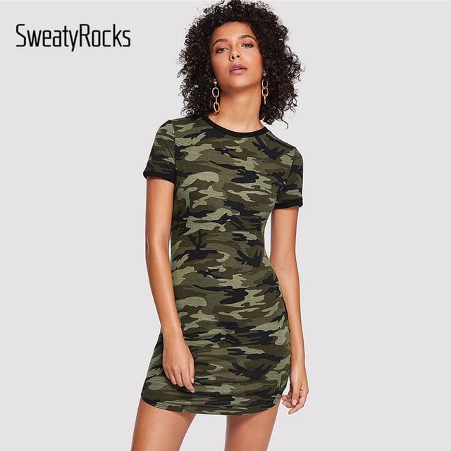ee9e7705d9 SweatyRocks Camo Print Curved Hem Dress Multicolor Round Neck Short Sleeve  Bodycon Mini Dresses Women Summer Camouflage Dress