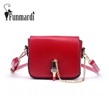 FUNMARDI Fashion Lipstick Lock PU leather messenger bag summer mini crossbody bag ladies shoulder bag Trendy women bags WLHB1559