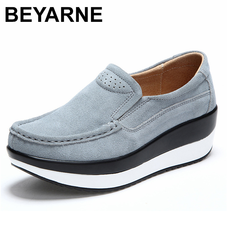 BEYARNE 2018 Summer Hole Shoes Woman Cow   Suede     Leather   Flat Platform Women Shoes Slip On Women's Loafers Thick Soled Female Shoe