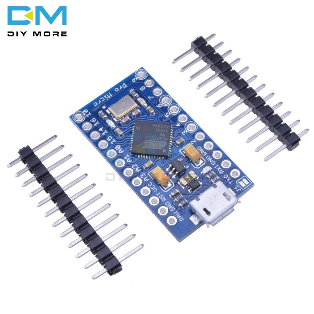 Pro Micro ATmega32U4 3.3V 16M 16MHz Replace ATmega328 For Arduino Pro Mini With 2 Row Pin Header For Leonardo Mini Usb Interface