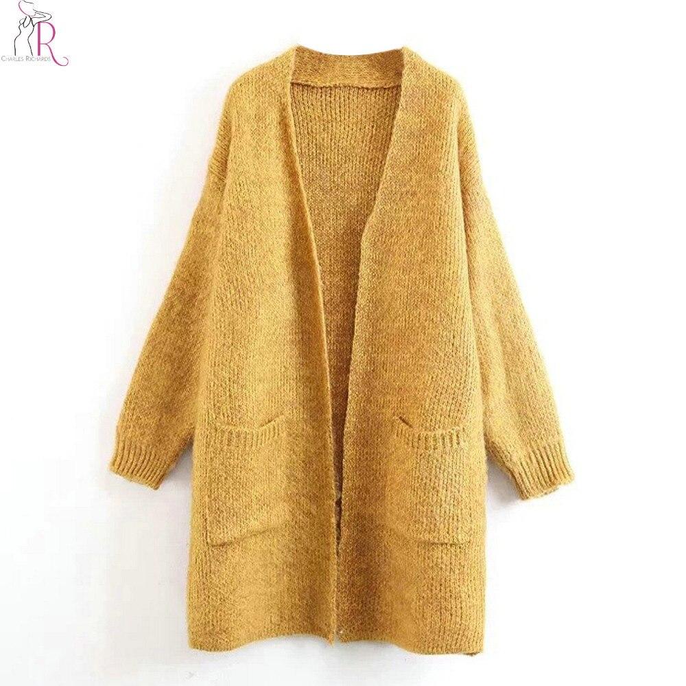 5c19620475b4 Women Mohair Blend Longline Cardigan Sweater Autumn Pockets Drop ...