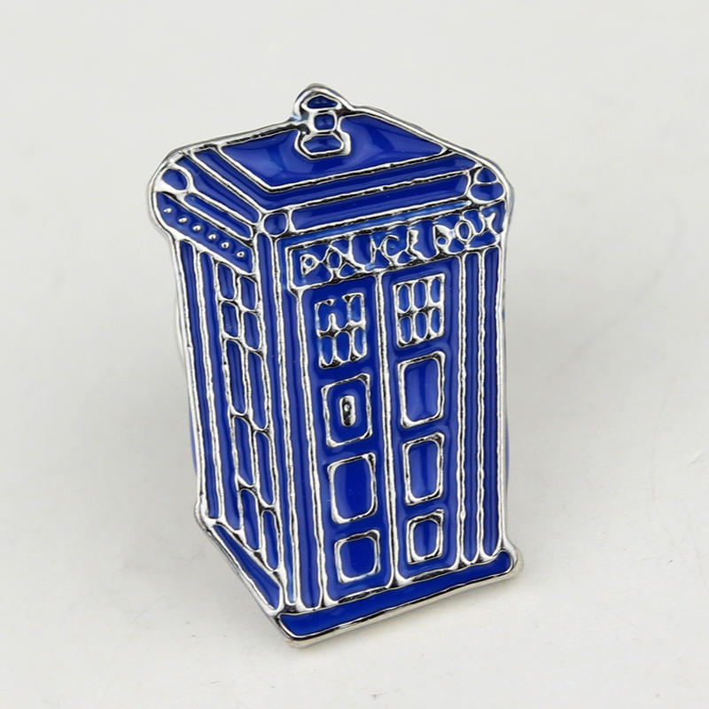 Doctor Who Dr Mysterious series brooch badges Fashion Blue Tardis Box Enamel Tie Lapel Icons Brooches Pins Dress