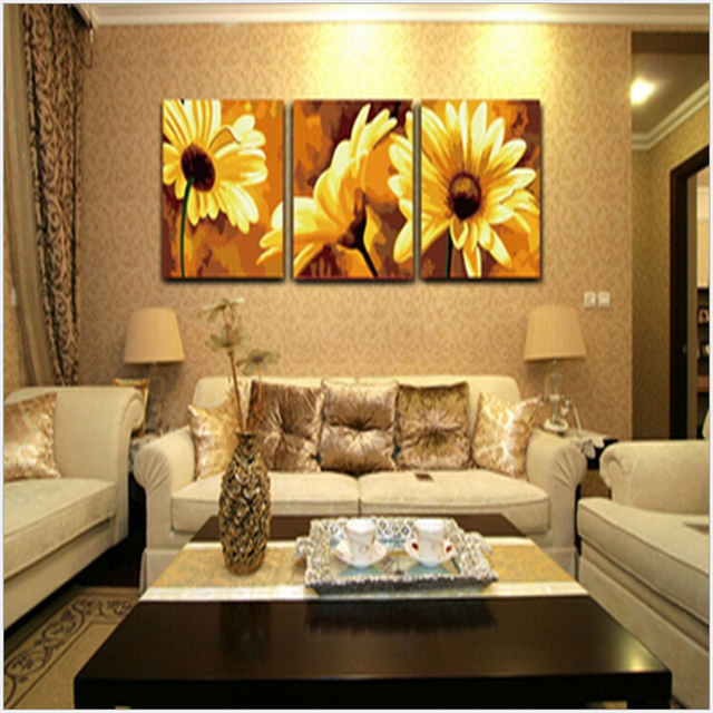 Hand painted wall art 50*50CM*3 Triptych canvas painting Gerbera ...