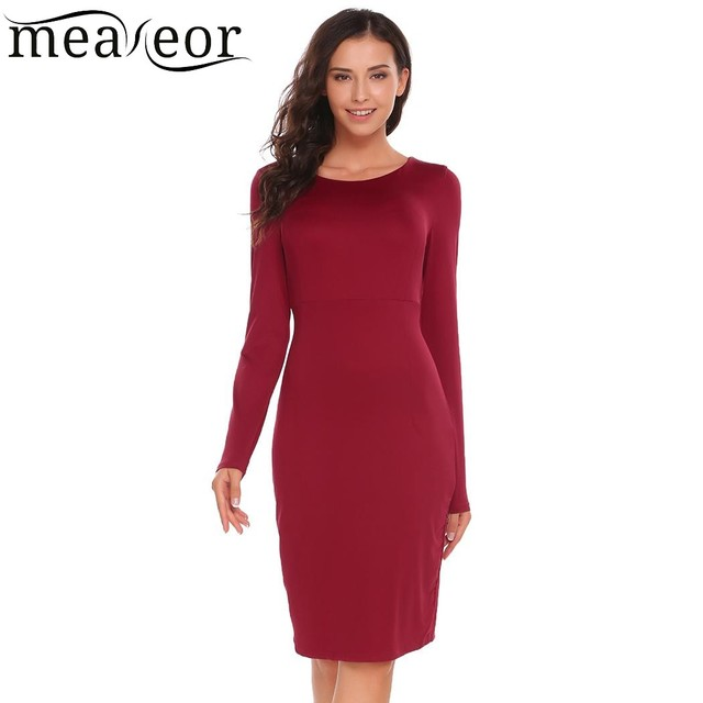 829c8a27602df64 Meaneor Платье-футляр Для женщин с длинным рукавом твердых о Средства ухода  за кожей Шеи