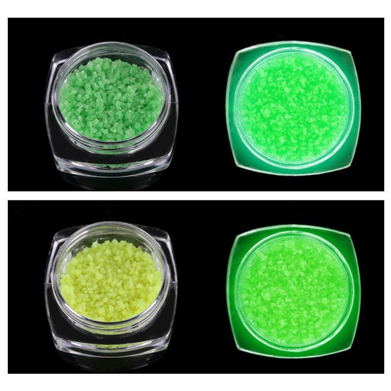Glans nagel glitter poeder fosfor fosfor lichtgevende licht in de - Nagel kunst