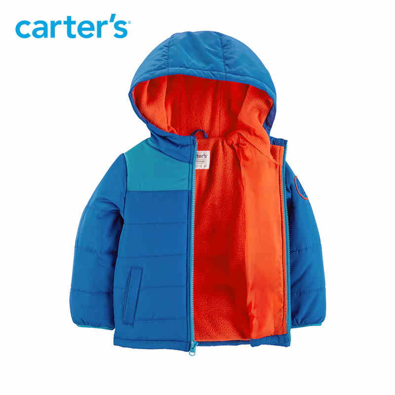 Carter's autumn winter jacket for boys blue long sleeve hooded warm thick coat kid clothing CL218853 zip up long sleeve drawstring hooded jacket odm designer