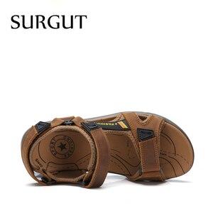 Image 3 - SURGUT แบรนด์ขายร้อนแฟชั่นฤดูร้อนรองเท้าแตะชายหาดรองเท้าผู้ชาย Hollow คุณภาพสูงรองเท้าแตะหนังแท้รองเท้าแตะ
