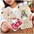 Hello kitty bow cat case para iphone 6 6 s plus impresso macio trefilação tampa traseira case coque para iphone 6 s plus 5 5s SE