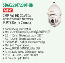 DAHUA Full HD 30X PTZ Dome Camera 1080P Network IR PTZ Dome Camera IP66 with 100M IR Distance without Logo SD6C230T-HN