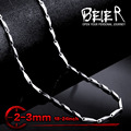 Beier collar de semillas de melón de acero inoxidable nuevo giro 2mm/3mm collar de cadena de moda boy hombre collar de cadena color plata bn1024