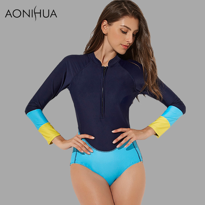AONIHUA Push up Swimwear Slim Patchwork Rash Guards Female Swimsuits Long sleeves Surfing Bathing Women One Piece Swim Suit XL in Body Suits from Sports Entertainment