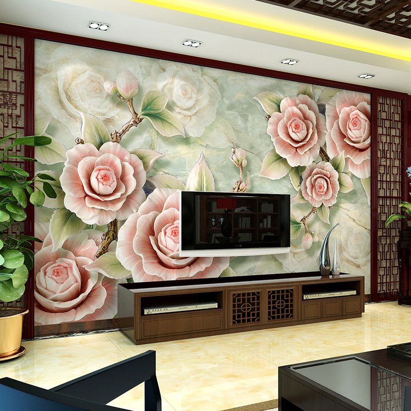 modern chinese tv background wallpaper 3d simple bedroom wallpaper mural painting all flowers bloom together in wallpapers from home improvement on - Simple Bedroom With Tv