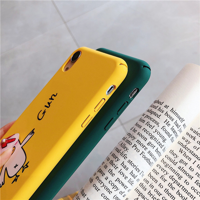 KIPX1098_9_JONSNOW All-inclusive Phone Case for iPhone XR XS Max 7 8 Plus 6 6S 6 Plus Funny Cute Dogs Chick Duck Pattern Hard PC Back Cover Capa Fundas