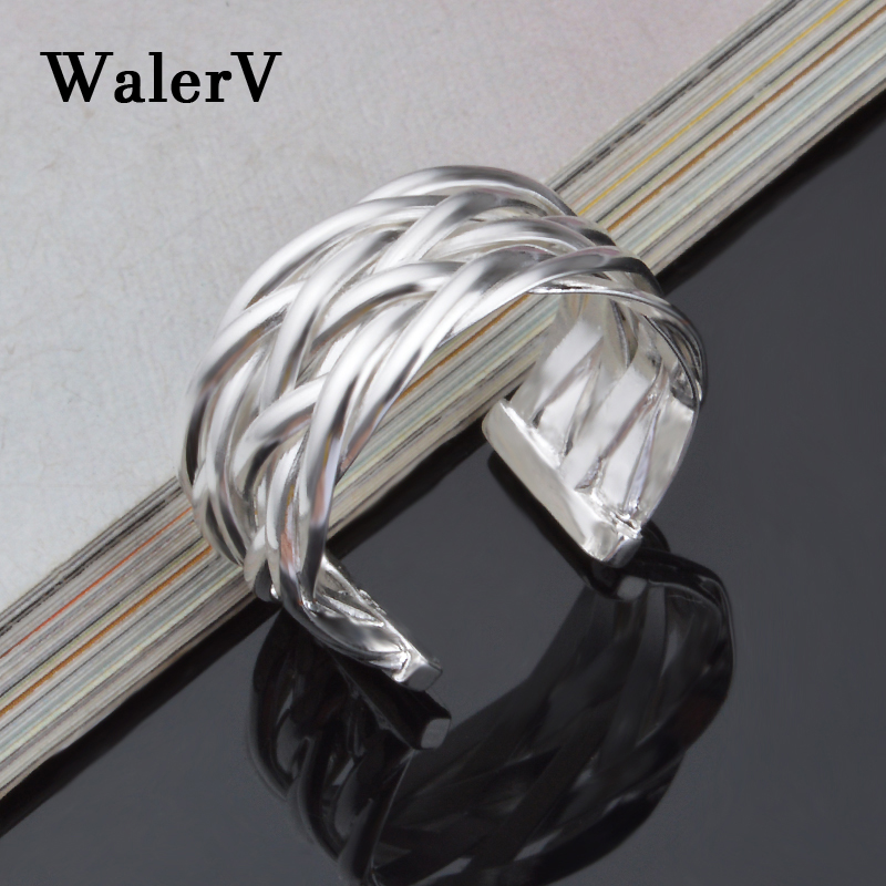 WalerV New for Women Custom Fashion Jewelry 925 Silver Ring Irregular Cross Personalized Open Ring Wedding Prom Fingers Gift