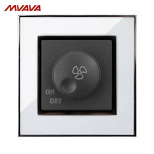 Free Shipping,Manufacturer, MVAVA Ceiling Fan UK/EU Dimmer Switch 110-250V Speed Control Turn ON/OFF Rotate Luxury Mirror White wallpad white glass uk 110 250v wireless 3 gang wifi electrical power remote control 3 speed rotary fan switch free shipping