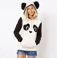Hip Hop Cute Kawaii Funny Cartoon Shirts Female Women Blouse Long Sleeve Panda Printed Ears Blusas