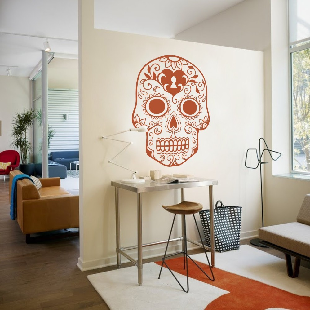 Mexican Sugar Skull wall art stickers home decoration Vinyl Wall ...