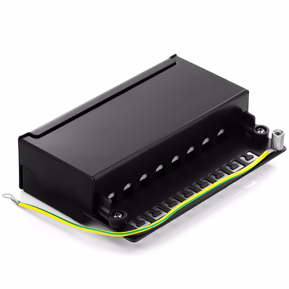 Mini Desktop CAT 6 8-port Patch Panel Full Shielded, Available For Wall Mounting (bottom plate with wall-mount screw holes)
