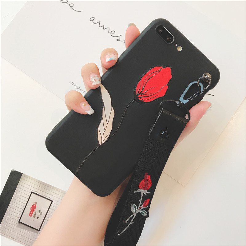 best service a8773 17fbd Rose Embroidered + Wrist strap iPhone Case