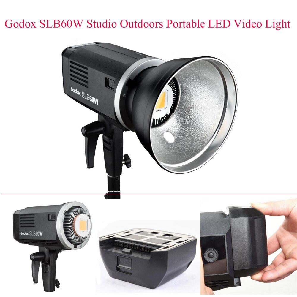 Godox SLB60W 60Ws 5600 K Studio extérieur Portable LED lumière vidéo pour caméra DV caméscope utilisant une batterie Li blanche, ContinuousLamp