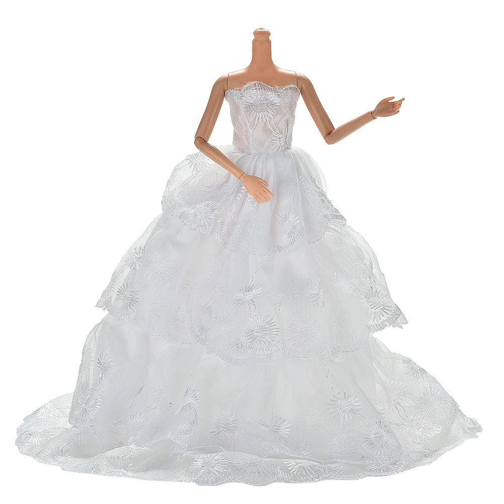 handmake Fashion White Princess Evening wedding Dress Clothing Gown For Barbie doll Clothes Doll dress 1Pcs mooncase металлический каркас тонких край зеркало 2 в 1 случае прикрытие для samsung galaxy a8