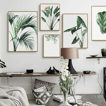 цена Watercolor Green Plants Leaves Canvas Paintings Nordic Scandinavian Office Wall Art Poster Picture for Living Room Home Decor онлайн в 2017 году
