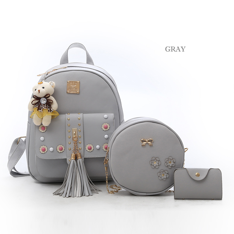 Backpack Female 3 Piece Combination Composite Bag Bear Hanging Inlaid Imitation Diamond Tassel Fashion Casual Shoulder Bag 55