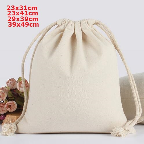 260g Thicken 23x31, 23x41, 29x39, 39x49 Cm Drawstring Canvas Cotton Bags Makeup Bag Big Packaging Pouch Can Customise Logo
