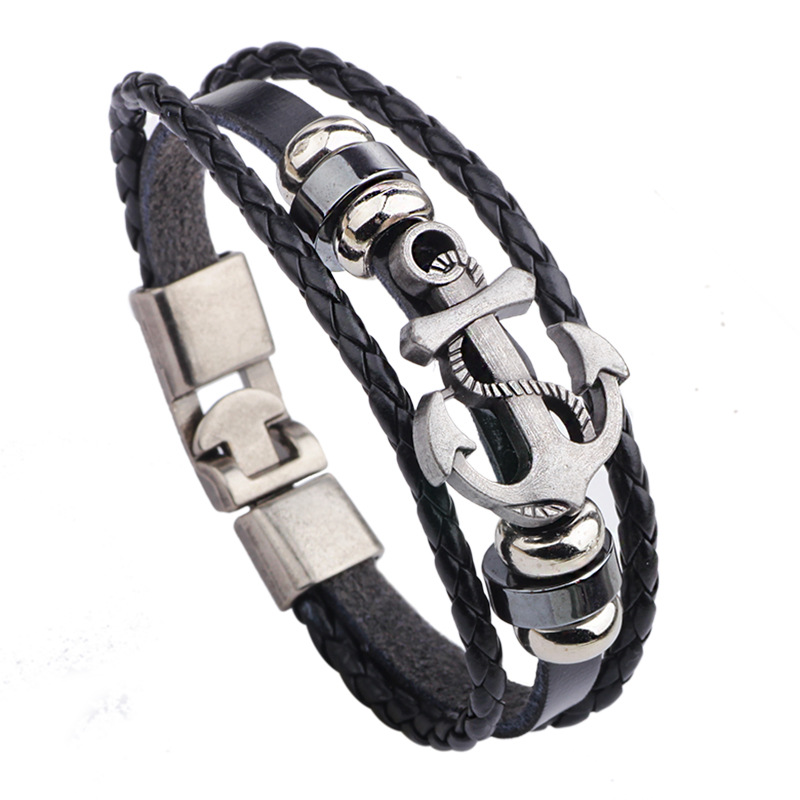 Samyeung Vintage Anchor Wrap Male Leather Braided Bracelets for Women Braslet font b Anime b font