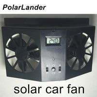 PolarLander 12V black Solar Powered Window Fan Ventilator Auto Cool Air Vent For Car Vehicle new coming