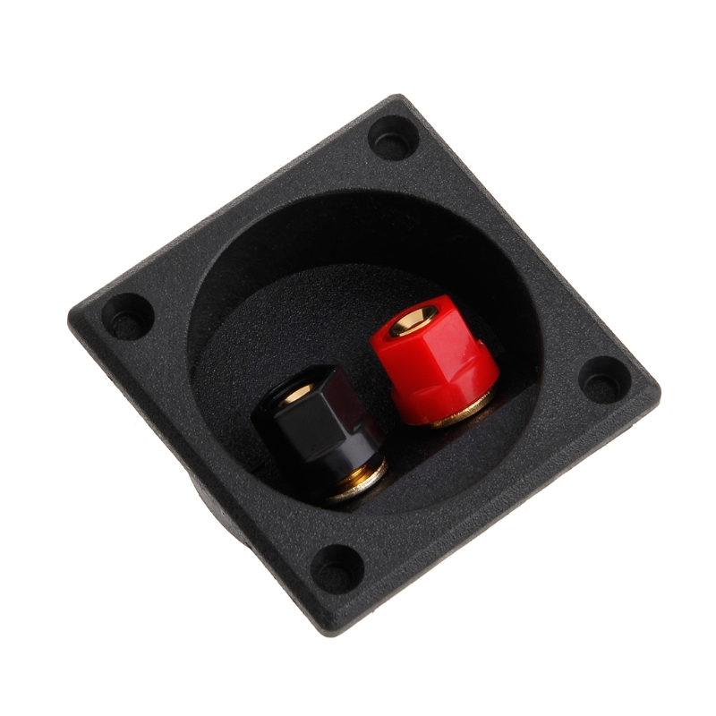 Square Shape Double Binding Post Type Speaker Box Terminal Cup Black