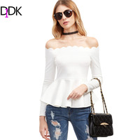 DIDK Woman Blouses Autumn Spring 2017 Women Clothing Elegant White Scallop Off The Shoulder Long Sleeve