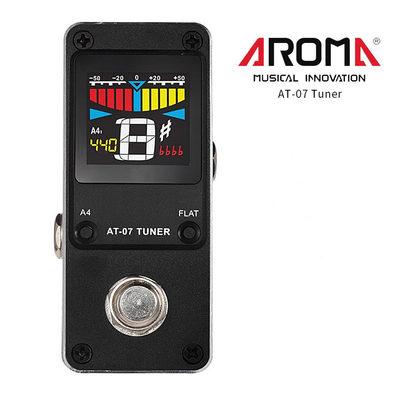 AROMA AT-07 Guitar Tuner Mini Single Guitar Effect Pedal Electric Effects High Quality Guitar Parts Accessories aroma adr 3 dumbler amp simulator guitar effect pedal mini single pedals with true bypass aluminium alloy guitar accessories