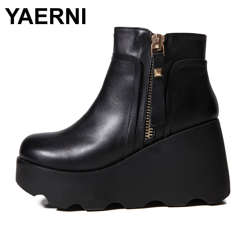 Yaerni Women Winter Shoes Genuine Leather Natural Wool
