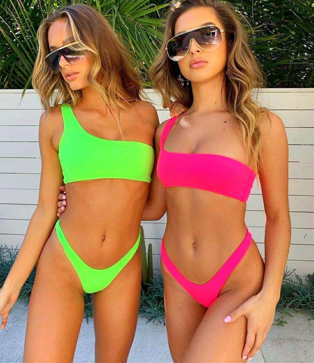 Sexy One Shoulder Thong Bikini Neon Green High Cut Swimsuit Female Bathing Suit Swimwear Women Biquini Push Up Bathers