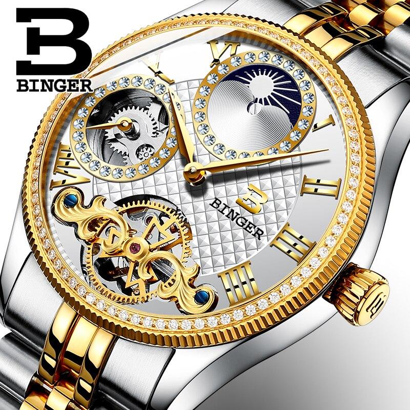 2018 Novos Homens Relógios Mecânicos Binger Papel Esqueleto Marca de Luxo Homens Relógio de Pulso À Prova D' Água sapphire Masculino reloj hombre B1175-9