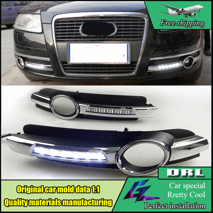 Car Styling Led Daytime Running Light Fog Lamp Cover Super Brightness Waterproof DRL With hole For Audi A6 A6L C5 2005-2008 dongzhen led car drl daytime running light source driving lamp fog light turn fit for audi q7 2006 2009 12v car styling