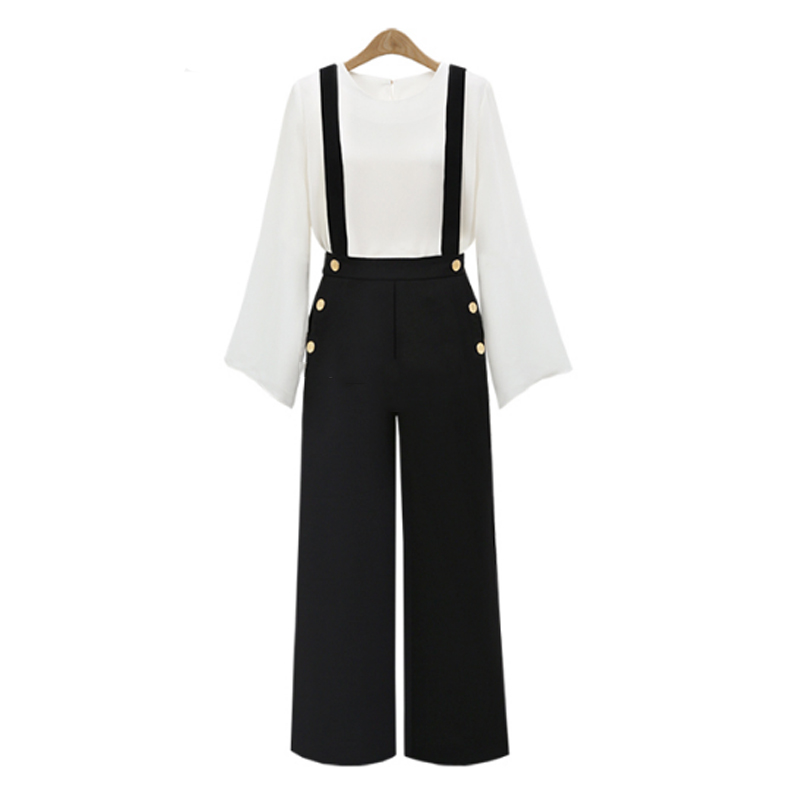 New 2020 Autumn European Style Casual All-Match Women Overalls Two Wear Ladies Suspenders Plus Size Button Pockets Casual Pants