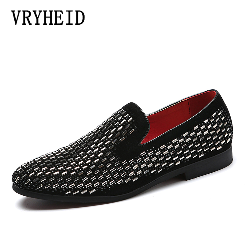VRYHEID Handmade men black nubuck leather shoes with silver Rhinestone Fashion men loafers red bottom men