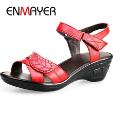 ENMAYER  Genuine Leather Basic Casual Woman Shoes 2019 New Arrival Women Summer Fashion Sandals Size 34-40 LY2519